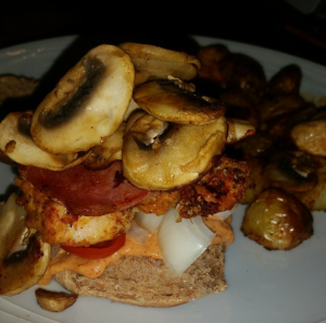 Look at me now! I'm smothered in mushrooms, bacon, tomatoes and onion :-)